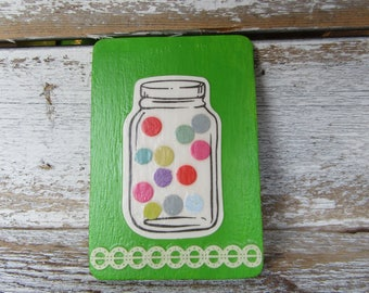 Mason Jar Magnet Lime Green with Confetti Candy in Glass Jar Design Wood Ready to Ship One of a Kind Teaching Tool M-5