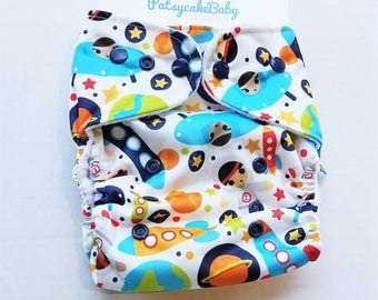 One Size, cloth diaper cover, fleece lined PUL with AI2 option, space, astronauts, planets, rocketship