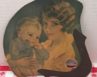Vintage Mother Child Hand Paddle/Fan
