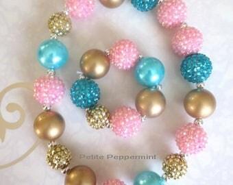 Pink Gold Teal Toddler Necklace, Girl Bubblegum Chunky Necklace, Flower Girl necklace,Girls Bubble Gum Bead Necklace,Children Necklace