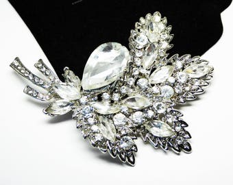 Huge Rhinestone Leaves Brooch - Four Leaf Bouquet - Clear Rhinestone - Pave Set Stones - Mid Century Vintage 1940s 1950s Floral Pin