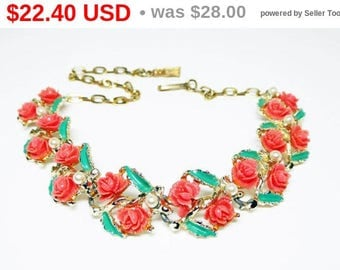 Coral Orange Tone Roses Necklace - Roses for Belle - BATB Choker w/ Rose and Pearls - Mid Century Vintage 1950's Green Enamel Leaves Links