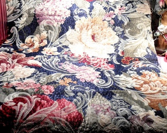 Vintage Shabby Cottage Roses Upholstery Fabric Remnant