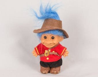 Russ Troll doll Removable clothes Blue hair Round ears Vinyl body Brown hat Soldier troll Boy troll Brown eyes 4 inches tall Pristine