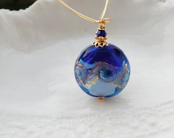 Venetian Murano Blue Glass Necklace