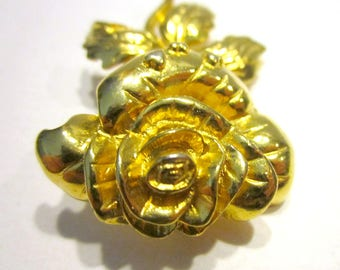 Vintage Gold Rose Brooch Vintage Flower Gold Pin Hearts Jewelry Gift for Her Gift for Mom Under 10