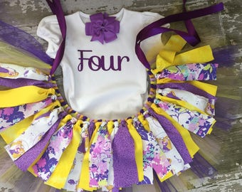 Tangled Birthday Outfit - Rapunzel Little Girl Outfit - Tangled Birthday Tutu - Little Girl Outfit - Rapunzel Birthday - Disney Fabric Tutu