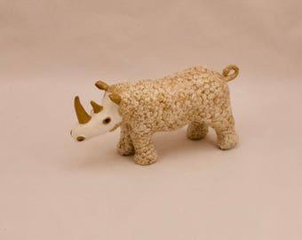 Rhino sculpture, Gold and white, unique, unusual