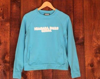 Vintage 80s Sweatshirt • Tourqouise Niagra Falls Canada Sweatshirt