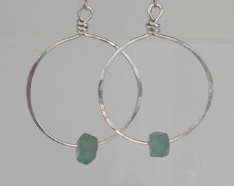 Recycled Glass Earrings Large Sterling Silver Hoop Earrings Aqua Sea Glass Handcrafted Earrings, Silver Hoops, Chunky Sterling Silver Hoops