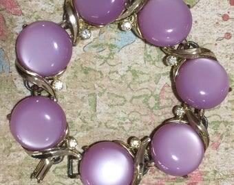 Lavender Purple Lucite Moonglow Bracelet, Mid Century Moonglow Bracelet, Moonglow Jewelry, Rhinestone Highlights 217gz