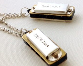 Personalized Harmonica Necklace, handmade sterling silver