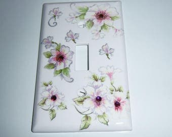 Wild Roses Single Light Switch Cover, House Warming Gift, Hostess Gift, Swarovski Crystals, Childs Room