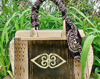 ON SALE: Professional Tribal Immunity African Print Handpainted Vegan Leather Handbag with Wrapped Kented Handle