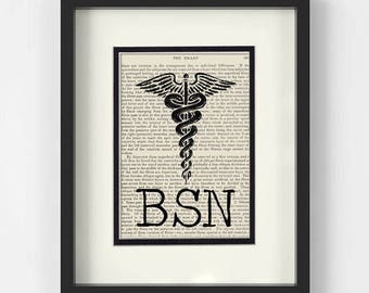 BSN over Vintage Medical Book Page - Gift for Nurse, BSN Gift, BSN Graduation Gift, Nursing Pinning Ceremony, Graduation Gift