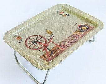 Mid Century Metal Litho Lap Tray - Spinning Wheel Graphics