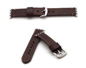 Apple Watch Band in CHESTNUT BROWN Genuine Italian Leather