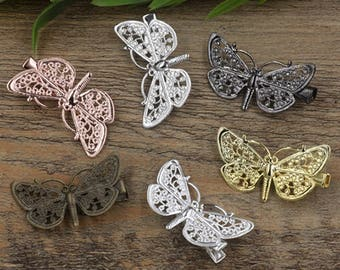 10 Brass Alligator Hair Clips W/ 25x43mm Filigree Butterfly Antique Bronze/ Silver/ Gold/ Rose Gold/ White Gold/ Gun-Metal Plated- Z7510