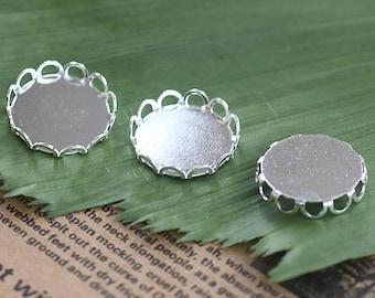 Wholesale 100 Brass Silver Plated Round Bezel Lace Frame 10mm/ 12mm/ 14mm/ 15mm/ 16mm/ 18mm/ 20mm/ 25mm Pendant Trays Mounting Base- Z5521