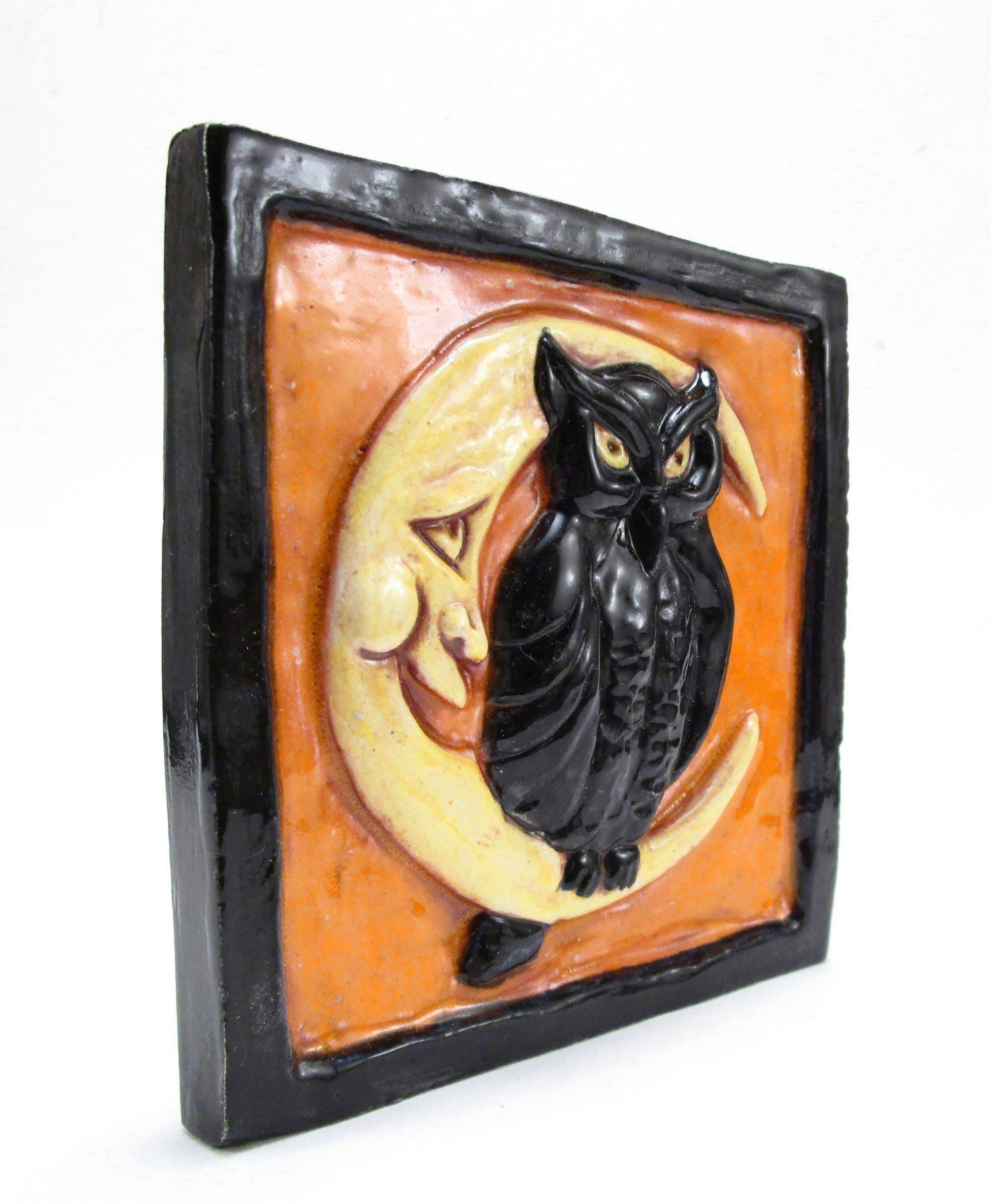 Night Owl Ceramic Art Tile Halloween Colors Orange And Black 4 X