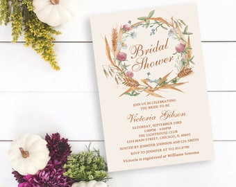 Wildflower Bridal Shower Invitation, Fall Bridal Shower Invitation, Wildflowers, Cereals, Personalized, Printable or Printed