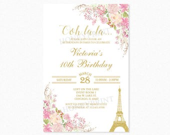 Paris Birthday Party Invitation, Eiffel Tower Birthday Party Invitation, Watercolor Flowers, Pink, Gold Glitter, Printable or Printed