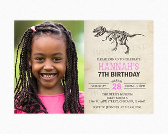 Dinosaur Birthday Party Invitation, Dino Birthday Invites, Girl, Pink, Personalized, Printable and Printed