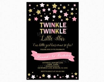 Twinkle Twinkle Little Star Birthday Invitation, First Birthday Invitation, Stars, Pink, Gold, Glitter, Printable or Printed