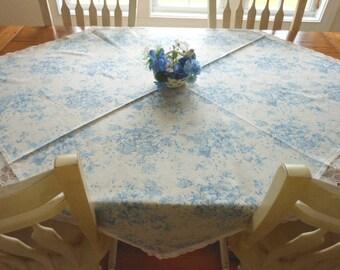 Vintage Blue And Tan Floral Linen/Cotton Tablecloth