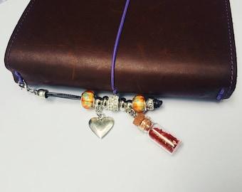 Heart charms, glitter bottle, planner accessories, travelers notebook accessories, charms, planner charms, silver planner charm, cute charm