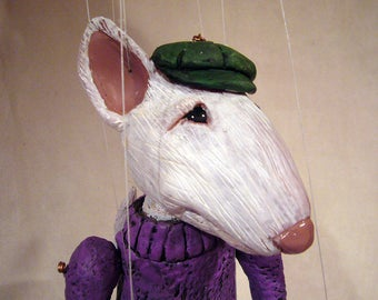 Made-To-Order Biff the Bull Terrier  one-of-a-kind Marionette
