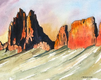 Ship Rock Sunset - Original Watercolor Painting