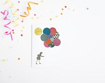 Birthday Card for Girl, Balloon Card - Party Girl