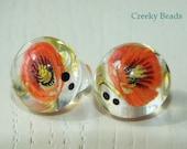 Handmade Lampwork Shank Buttons - Poppy - Creeky Beads - SRA