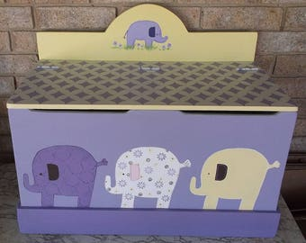 Lavender and yellow, Nursery Elephants, Toy boxes, Toy Chest, for Children. Kids Benches, Wooden Toy Boxes, Personalized