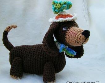 Summer Sale Crochet Pattern Dashshund Dog by Teri Crews instant download PDF format Crochet Toy Pattern