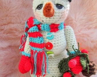 Summer Sale Crochet Pattern Huggable Snowman by Teri Crews Instant Download PDF Format Crochet Toy Pattern