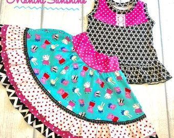 Peppa Pig Jersey Top and woven Skirt