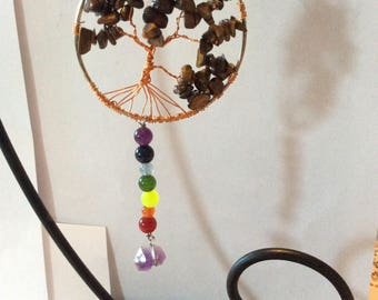 Tree of life, Chakra theme with eye of the tiger and amethyst stones.....