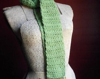 The Tasseomancer Crochet Scarf Gypsy Tea Diviner Handmade Jeweled Gemstone Fringe TEA LEAF Green boho Fashion Skinny Scarf August Birthstone