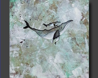 Simplicity Series - Humpback Whale Painting - Abstract Whale - Mother and Baby Modern Contemporary Art by Britt Hallowell
