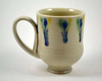 Porcelain Coffee Mug/ Colorful Handmade Mug/ Blue, White, Yellow and Green Coffee Mug/ Ceramic Mug/ Porcelain Coffee Cup