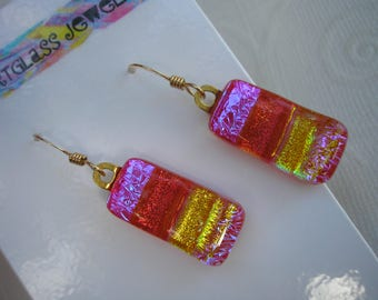 Hot Red Pink Electric Purple  Earrings Dichroic Fused Glass Jewelry .925 Sterling  Iridescent Gold Kiln Fused Glass Jewelry Dangle Earrings