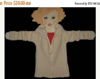 Vintage 80s Mint Winter White  Gap Wool Zip Sweater