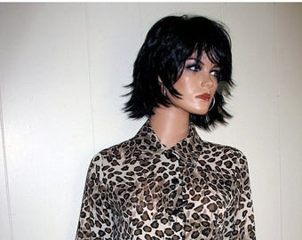 BOHO Hipster Punk Rock and Roll Rock A Billy Pinup  Leopard Print Poly Crepe Blouse Circa 1980s