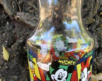 Mint Condition Old School Mickey Minnie and Donald  DISNEY Glass Juice Container By Anchor Hocking Circa 1980s With Lid