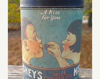 15 % off Vintage 1980 Herseys Kisses A Kiss For You Collectible Tin With Illustration from 1921 Retro Kitchen