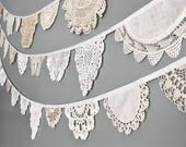 Doily Bunting Banner - Vintage Doily Garland - Lace Wedding Decor - Wedding Decoration - Vintage White Lace Decoration - Set of 3