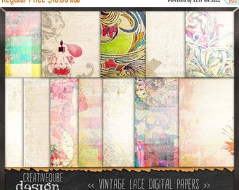 80% Off SALE Digital paper, Digital Scrapbook paper pack - Instant download - 12 Digital Papers - Retro vintage