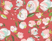 Light Rust Red Green and Pink Floral Jersey Knit Fabric, Wild Bloom by Bari J for Art Gallery, 1 yard